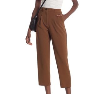 GOOD LUCK GEM Brown Front Pleat Ankle Pants